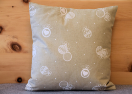 Set kussenhoes & polyester vulling KERST beige & wit | 40 x 40 cm