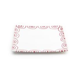 Onderbord of gebakschaal Geflammt rood vierkant - 31 x 31cm