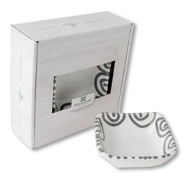 Schaaltje vierkant - Geflammt grijs cadeauverpakking