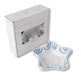 Schaaltje ster Stella Geflammt blauw - 14 cm cadeauverpakking