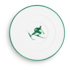 Schoteltje voor koffiekopje Toni der Skifahrer groen - 16 cm