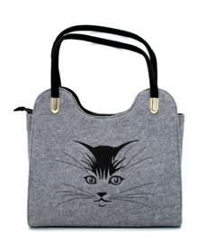 Vilten tas met kat motief - lichtgrijs