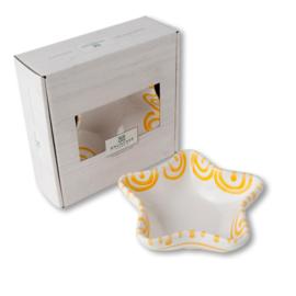 Schaaltje ster Stella - Geflammt geel cadeauverpakking