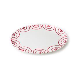 Serveerschaal ovaal plat Geflammt rood - 33 x 26 cm