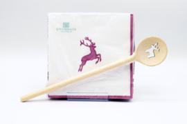 Servetten en houten kooklepel - Hertje roze