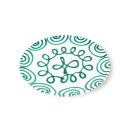 Onderbord of gebakschaal Geflammt groen - 32 cm