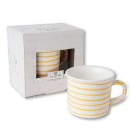 Koffiebeker - Geflammt geel cadeauverpakking