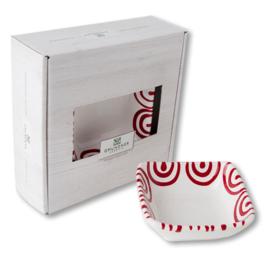 Schaaltje vierkant  - Geflammt rood cadeauverpakking