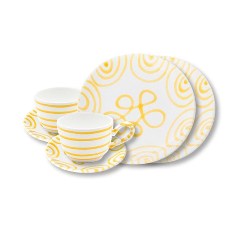 Ontbijt set voor twee  - Geflammt geel cadeauverpakking