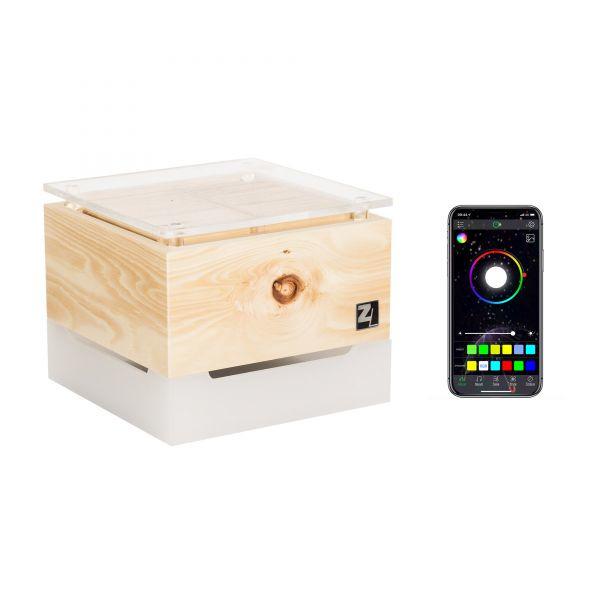 Luchtreiniger Zirbenlüfter® Cube mini kristal met RGB kleuren