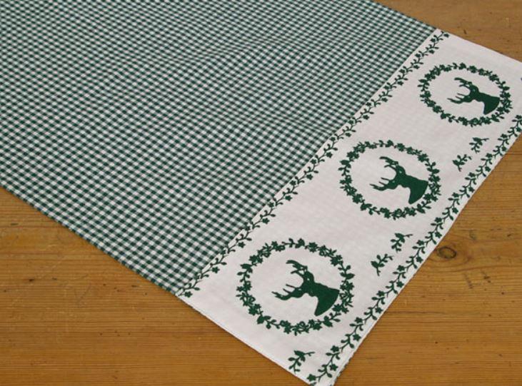Loper Gerry hert groen - 42 x 150 cm