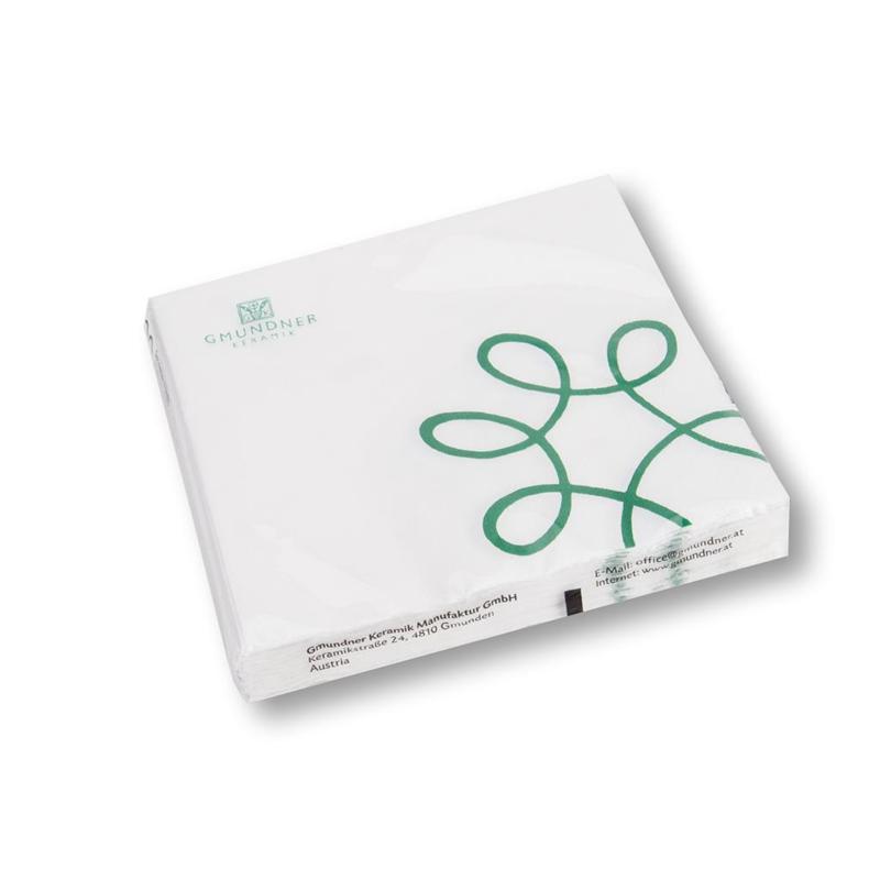 Servetten Pur Geflammt groen - 33 x 33 cm