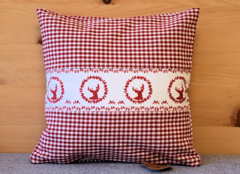 Kussenhoes Gerry hert - rood | 30 x 30 cm