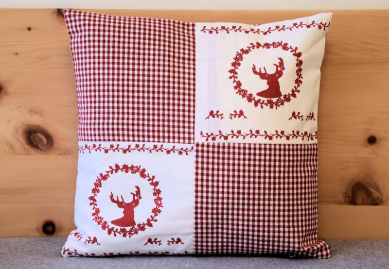 Set kussenhoes & veren vulling - Gerry hert rood | 40 x 40 cm
