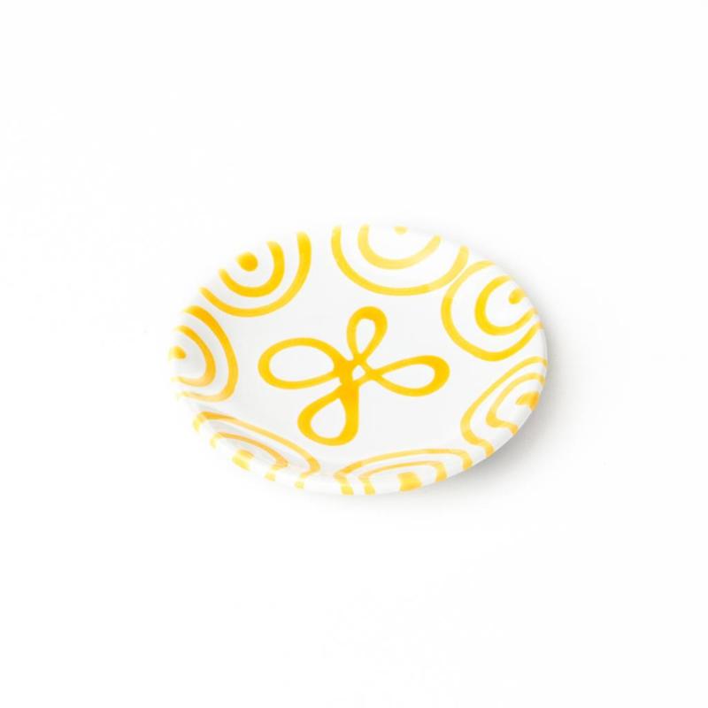 Schoteltje voor koffiekopje en theekopje  Geflammt geel - 15 cm