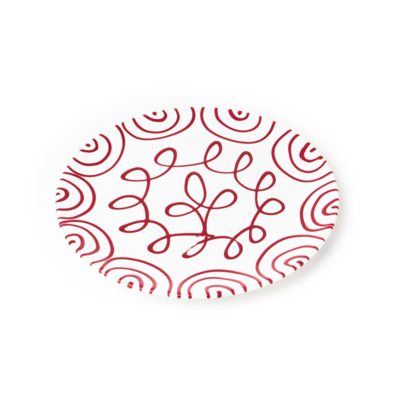 Dinerbord Geflammt rood - 28 cm