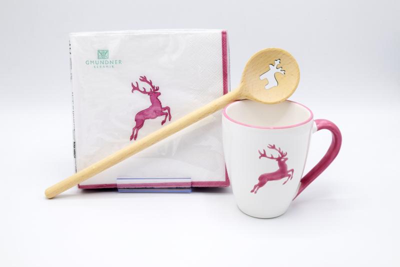 Koffiebeker MAX - servetten & houten kooklepel - roze