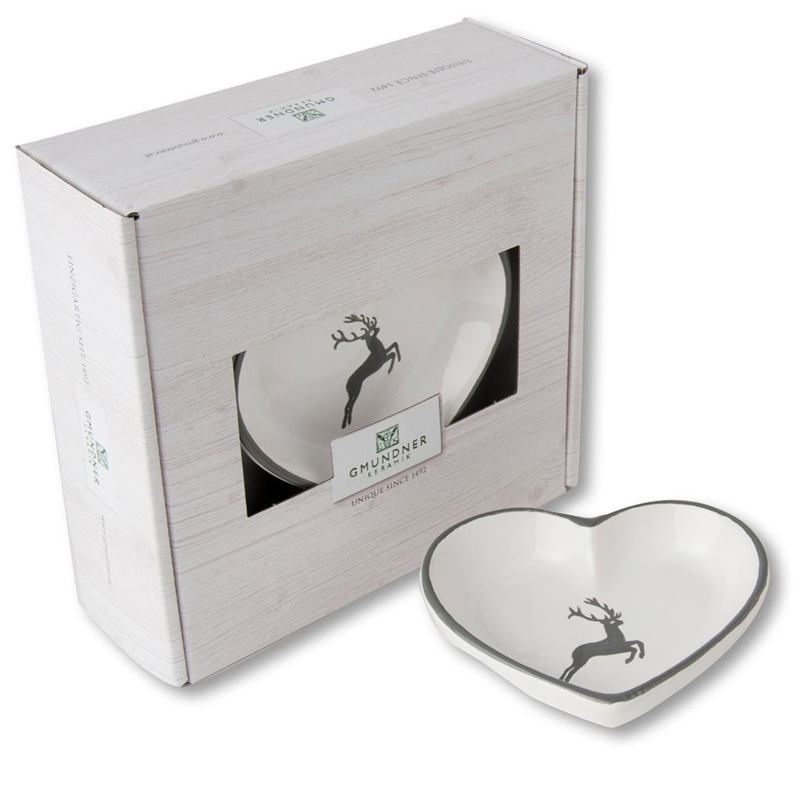 Schaaltje hart - Hert grijs cadeauverpakking