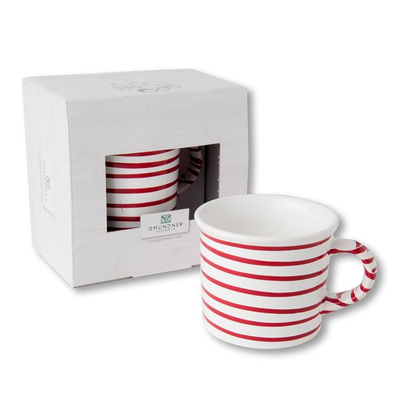 Koffiebeker Geflammt rood - 0,24 l cadeauverpakking