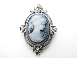 Broche blauw camee victoriaans.