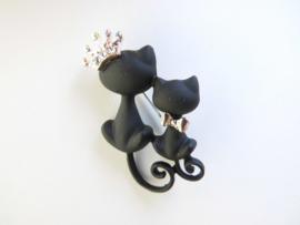 Broche 2 zwarte katjes.