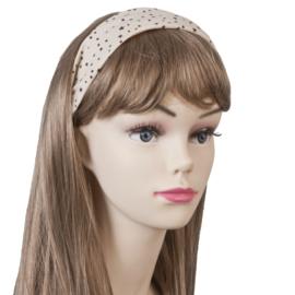 Mooie beige haarband met bruine sterretjes.