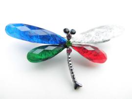 Broche libelle bont gekleurd.