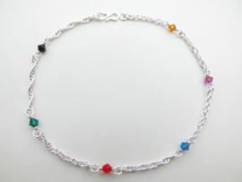 Zilveren regenboog kleuren enkelband.