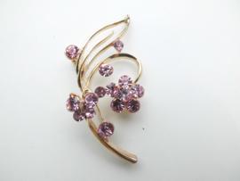 Broche roze steentjes vlinder/bloem.
