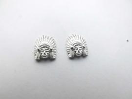 Zilveren indiaan oorknoppen (medium)