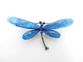 Broche libelle blauw.