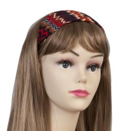 Haarband zigzag rood/blauw.