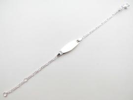 Zilveren baby figaro plaatbandje ovaal.