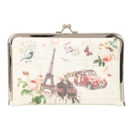 """Luxe PLATTE knip portemonnee """"Romantisch Parijs"""""""