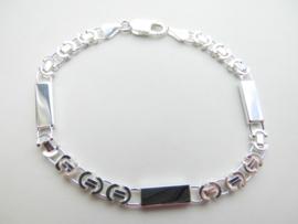 Zilveren platte konings met 3 plaatjes bracelet.
