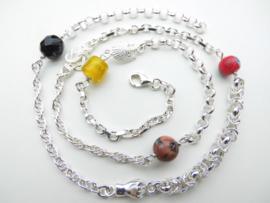 Zilveren allakondre ketting. (61 cm)