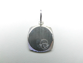 Zilveren baby graveerplaatje hanger.