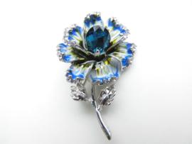 Prachtige blauwe bloem broche