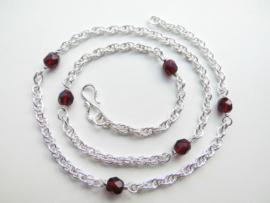 Zilveren tarate ketting met rode kralen (50 cm)