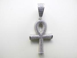 Zilveren egyptische kruis (anch) vol gezet met zirkonia steentjes.