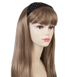 Haarband zwart met roze stippen polka dot.