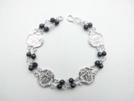 """Zilveren chinees karakter """"Geluk"""" blue/black zandsteen kralen bracelet."""