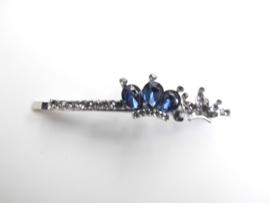 Haarschuif blauw/wit kroon.