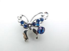 Broche blauwe steentjes vlinder.
