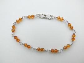 Zilveren gele kralen bracelet.