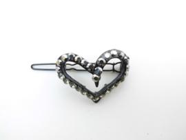 Zwarte hart haarklem met steentjes.