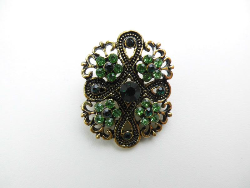 Broche antiek look groen 3.