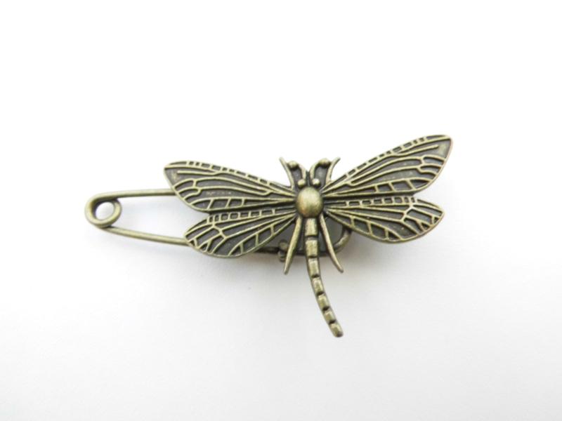 Sjaalspeld libelle oud brons.