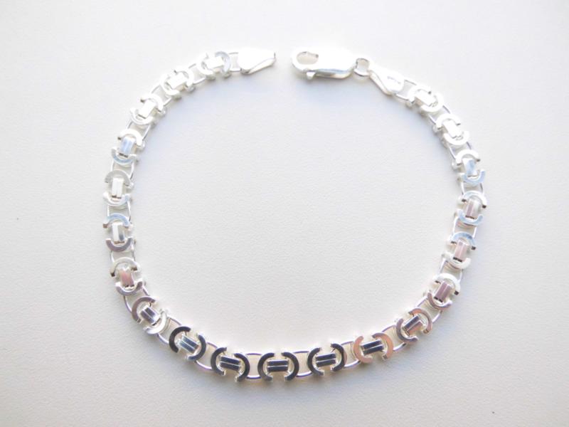 Zilveren platte konings bracelet. (dunner)