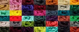 Merino lontwol - kleur, per meter. Voor naaldvilten en natvilten.